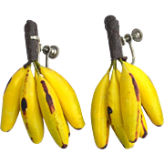 SALE Super Fun Early Vintage Banana Bunch Earrings, Very Realistic
