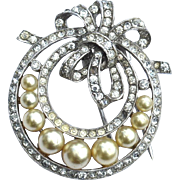 SALE Vintage Signed Crown TRIFARI Faux Pearl and Rhinestone Fur Clip