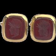 SALE Hallmarked DB 14K Gold Filled Cuff Links Cufflinks, Carnelian Carved Intaglio Roman Warri