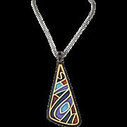 SALE Vintage Signed TERRA SANCTA Guild 1969 Israel Shalom Mod Enameled Necklace