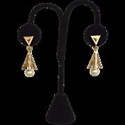 SALE Vintage Signed Crown TRIFARI Gold Toned Earrings, Dangling Pearl