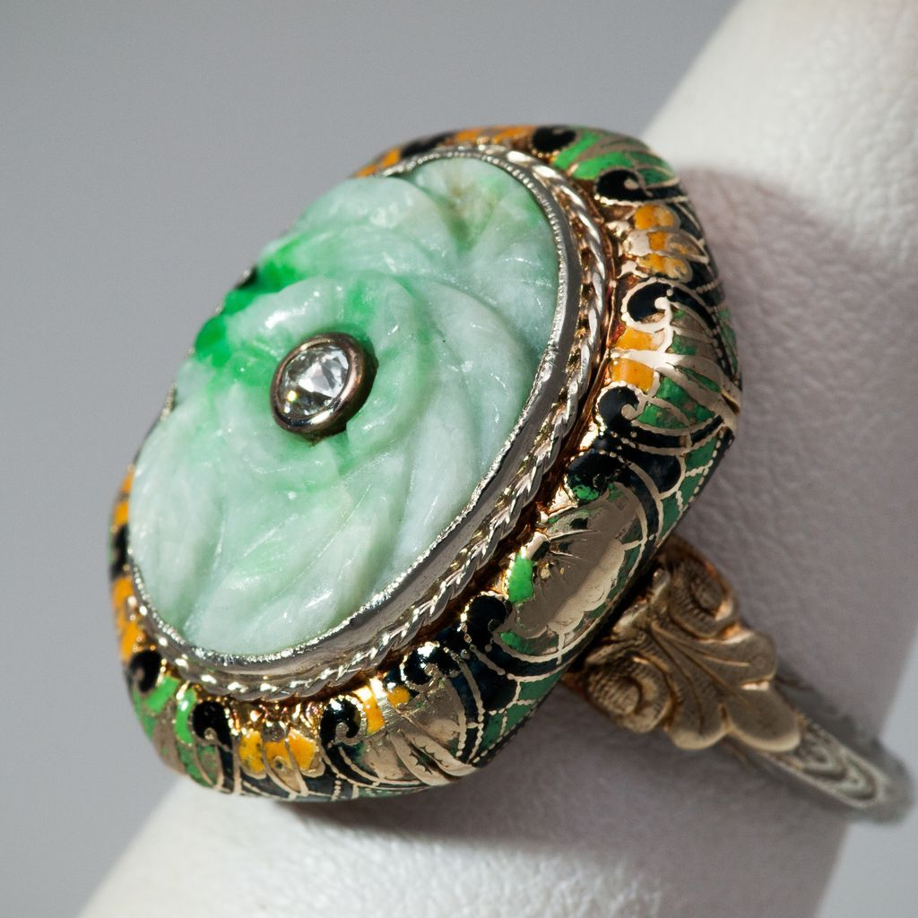 antique carved apple green jade ring from rubylane sold on