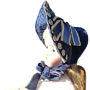 SALE Civil War Blue Velvet Bonnet