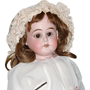 """SALE PENDING 20"""" Antique German Bisque Doll with Leather Body"""