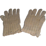 Antique White Knitted Wool Gloves for Dolls