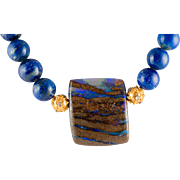 Translucent Ethiopian Boulder Opal with Striated Blue fire and brown Matrix with Lapis Necklac