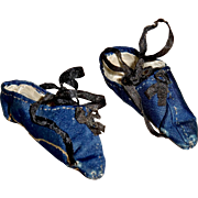 SALE PENDING Antique Blue Silk Shoes for your Papier Mache Doll