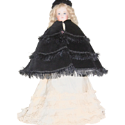 Black Velvet Cape with Fringe and Black Velvet Hat for French Fashion