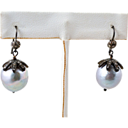 Gray FW Baroque Pearls Earrings in Silver and Diamond Settings