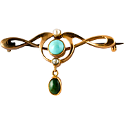 15k gold Art Nouveau Brooch with Turquoise