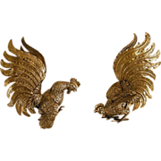 Italian Silverplate Fighting Cocks, Roosters