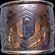 Engraved Art Nouveau Sterling Napkin Ring, monogram C
