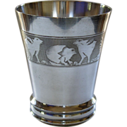 Child or Baby Cup/Tumbler  w. Baby Chicks, Fine Silverplate prob. French