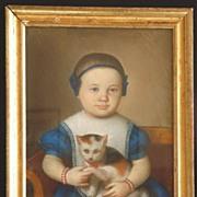 Early American Pastel on Paper Beautiful Baby in Blue w. kitten, cat  c. 1830