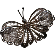 SALE Vintage Silver Filigree Butterfly Brooch