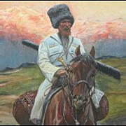 Cossack on Horseback, Tatar, Tartar, Watercolor, WW I