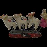 Vintage Primitive Folk Art Christmas Garden shepherdess w. Sheep, Mexico
