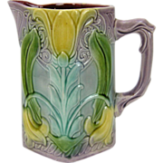 Antique Art Nouveau Sarreguemines  French Majolica Pitcher w. Tulips