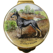 Doberman England Hand-painted Enamel Trinket Box, 1982 by Payne