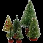 6 Vintage Bottle Brush Christmas trees