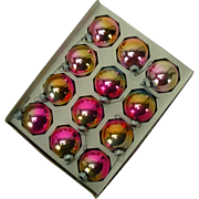 12 Mid-Century Pink and Gold Shiny Brite Christmas Ornaments, Original Box