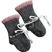 SALE PENDING Vintage Hand-knitted soft Wool Doll or Baby Socks, Booties