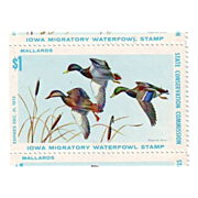 Strip of Five Unused Iowa 1972 Duck Stamps - First Year of Issue