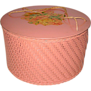 Pink Harvey Wicker Sewing Basket with Floral Bouquet Decal