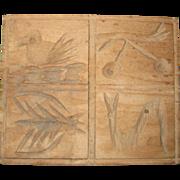 Hand Carved Wooden Springerle Press or Butter Print Mold - Rural Pennsylvania - Bird, Cherry,