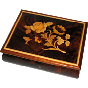 Italian Inlaid Marquetry Musical Jewelry Box with Reuge Swiss Movement - My Lady Greensleeves