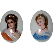 Pair of Porcelain Limoges Transfer Portrait Plaques with Victorian Ladies