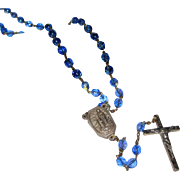 Lourdes Pilgrimage Rosary with Blue Faceted Crystals and Holy Water Receptacle - Original ...