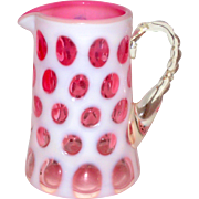 Fenton Pink Cranberry Cased Glass Coin Dot Cream Pitcher