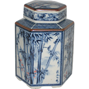 Blue and White Chinese Porcelain Tea Caddy with Bamboo Scenes