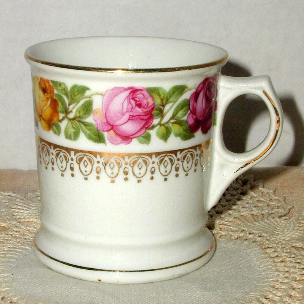Old German Shaving Mug with Gilt and Roses