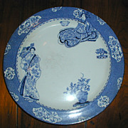 Wood's Ware Blue and White Tsing Geisha Plate