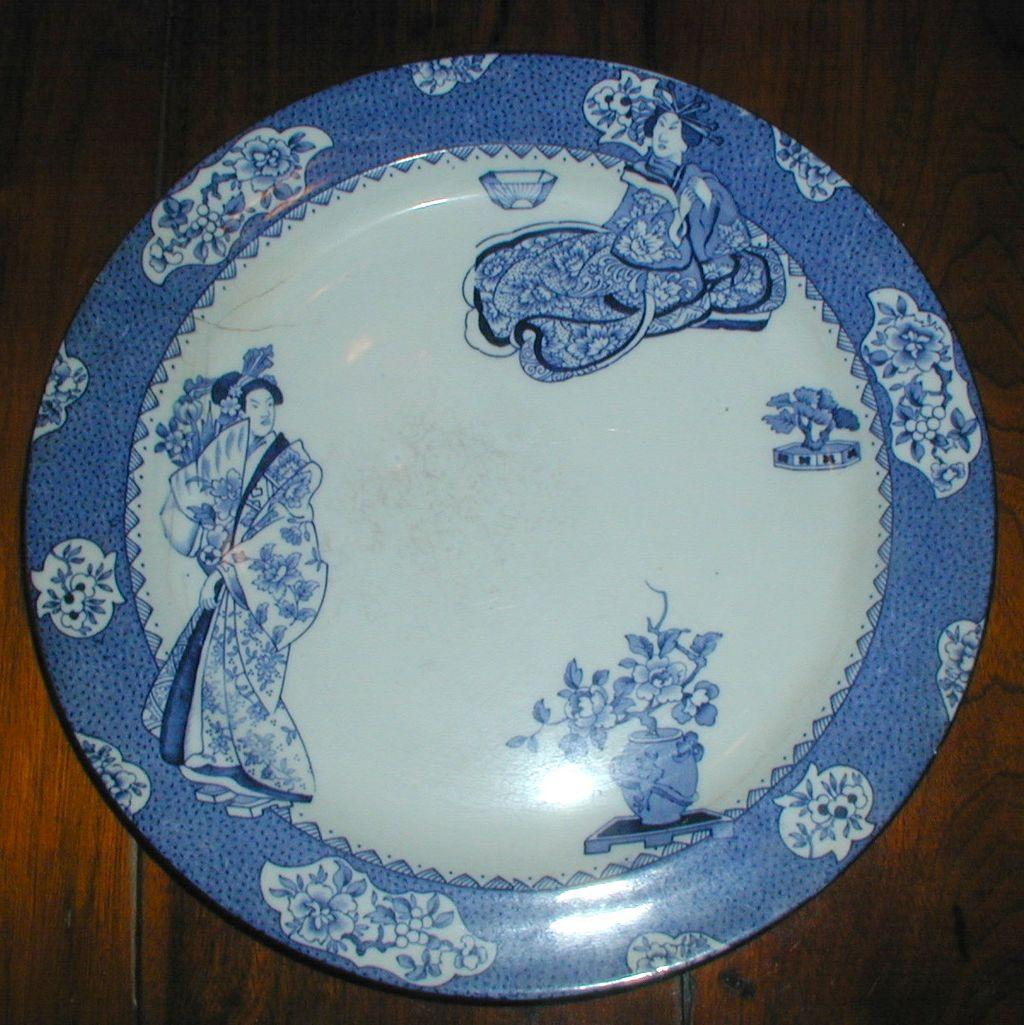 Wood's Ware Blue and White Tsing Geisha Plate