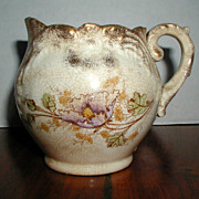 Small Semi-Porcelain Pitcher with Purple Poppy, circa 1875