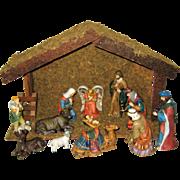 Traditional Wooden Creche with Twelve Porcelain Figures