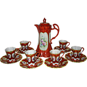Thirteen Piece Nippon Chocolate Set - Brightly Colored and Floral