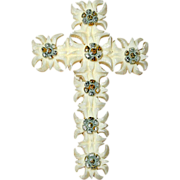 SALE Carved French Ivory or Celluloid Edelweiss Flower Cross Pin
