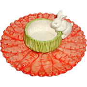 SOLD Ceramic Carrot and Bunny Snack Plate