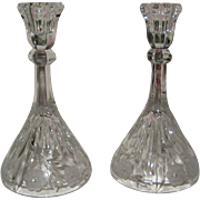 Pair of Crystal Candle Holders with Etched and Prescut Design