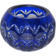 SOLD Cobalt Blue Cut to Clear Crystal Votive Candle Holder or Small Bowl