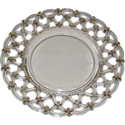 Westmoreland Forget Me Not Clear Glass Plate with Gold Enameled Trim