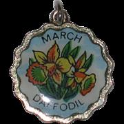 SALE Fritz Reu March Daffodil Silver-plated Flower Charm
