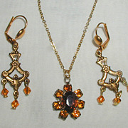 SALE Necklace and Chandelier Style Earrings with Amber Colored Crystals