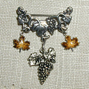 SALE Sterling Grapes and Enameled Leaves Pin