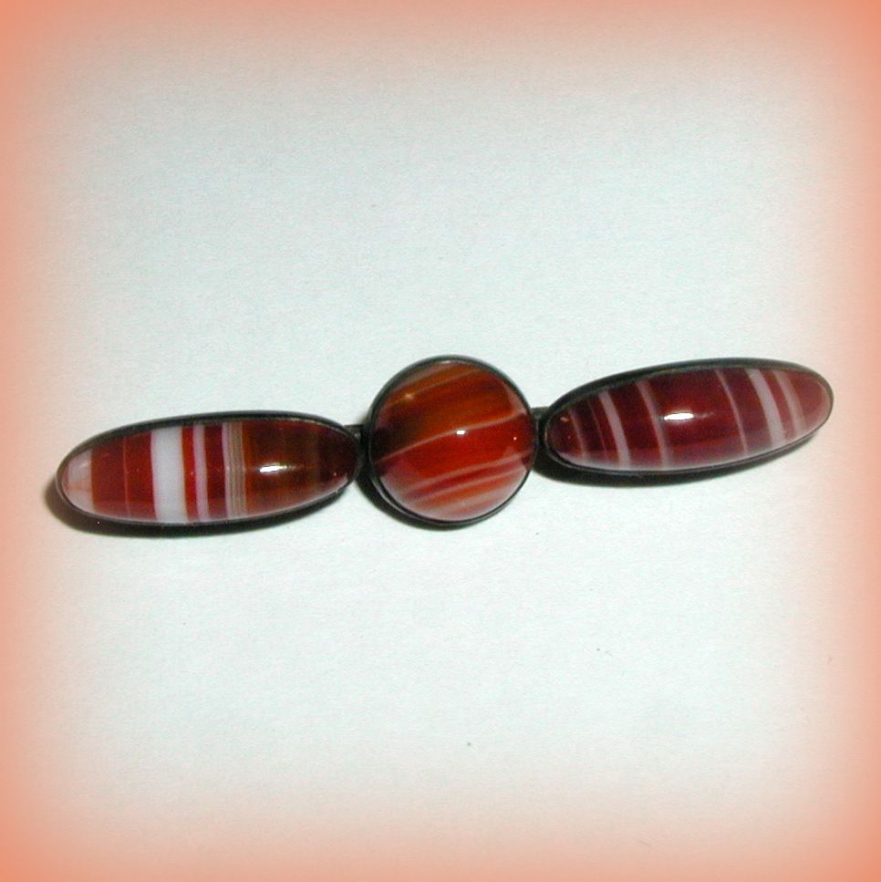 Victorian Scottish Banded Agate and Sterling Pin