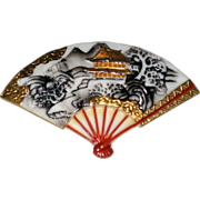 SALE Japanese Toshikane Porcelain Fan Pin with Temple